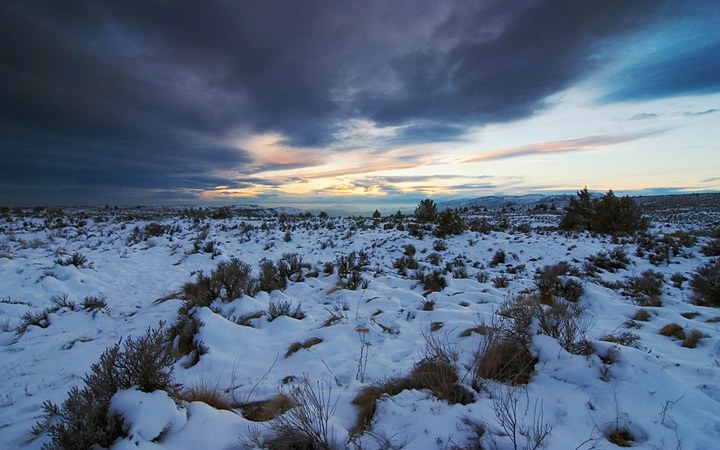 high desert winter sunset