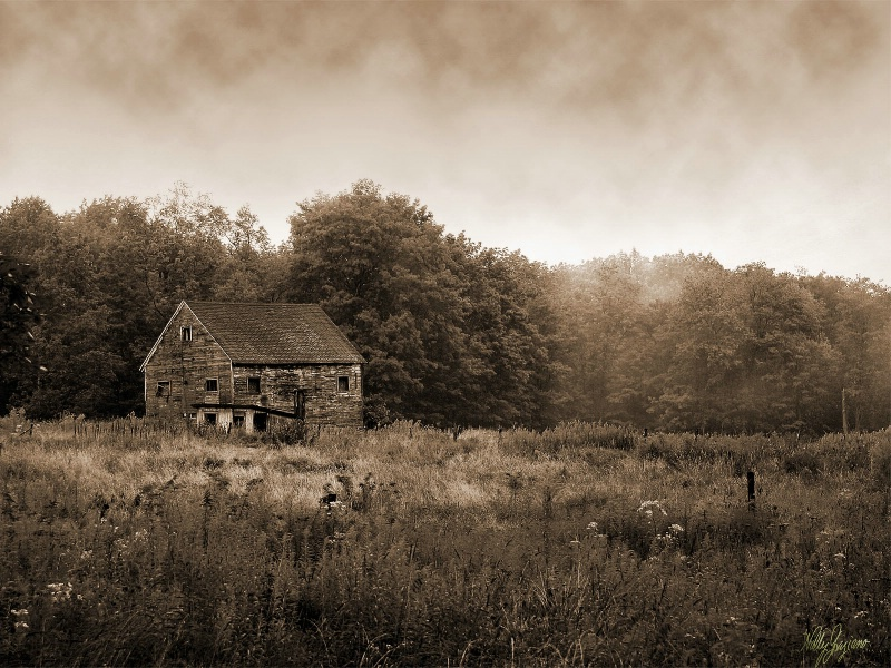 Barn of the Past in Sepia