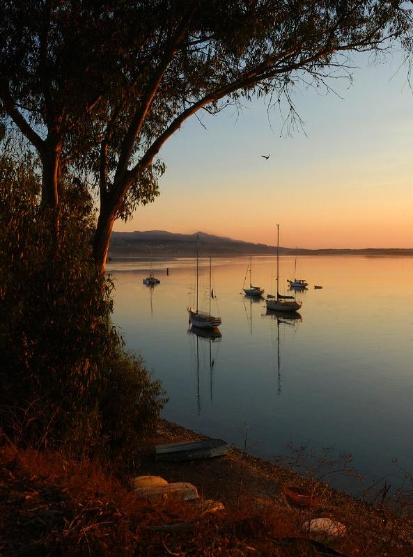 Framed Boats at Sunset