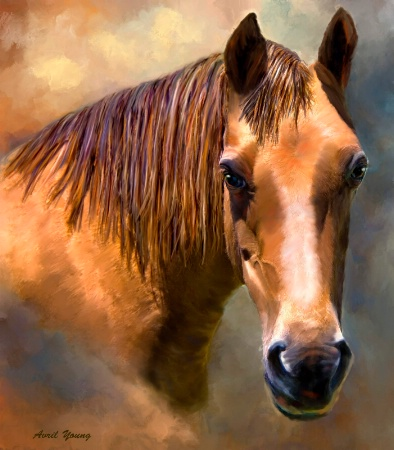 Painting of a horse called Connie.