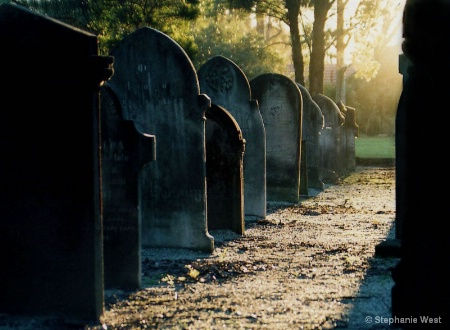 sunset tombstones