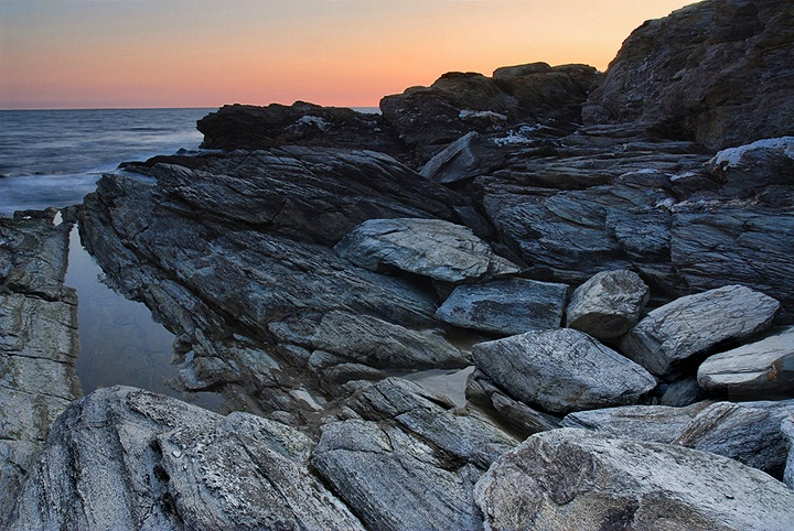 Rocks and night sea