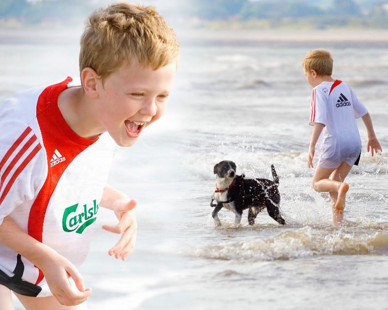Ieuan and  Jack at the beach