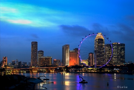 Singapore Flyer from Marina Barrage