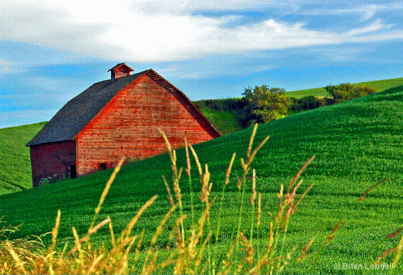 The elusive One-Eyed Barn peeks over hill.