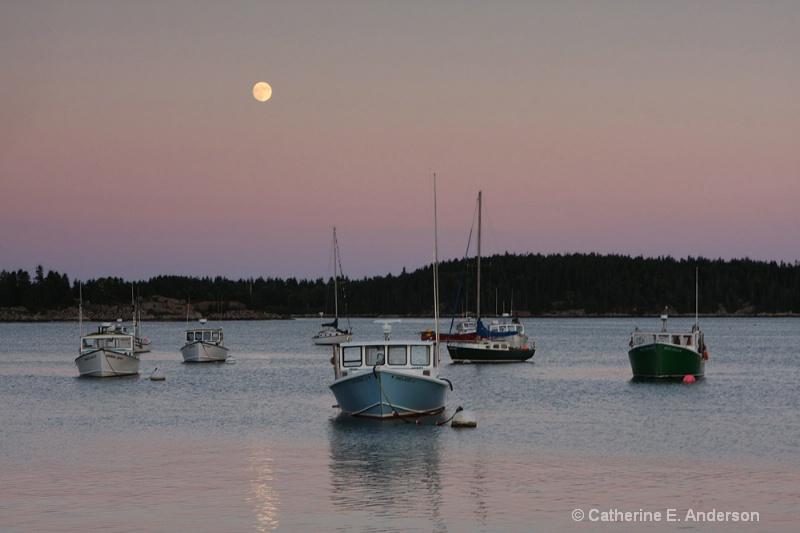 Moon Over Stonington Harbor