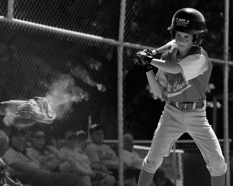 Young Batter Watching it to the Glove   09-1