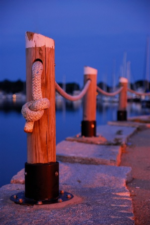 Night falls on Wickford Harbor