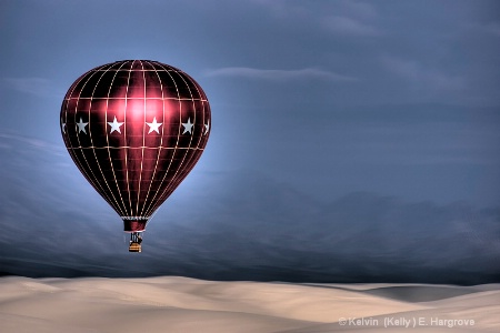 Balloon over White Sands - HDR