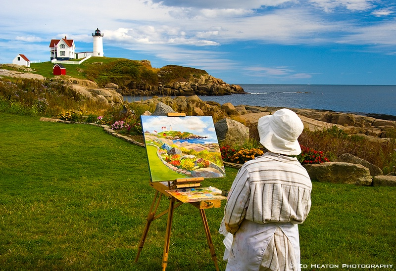 Painter at Nubble Lighthouse