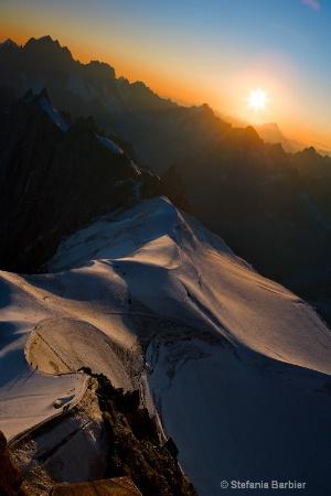 sunrise on top of Mt. Blanc
