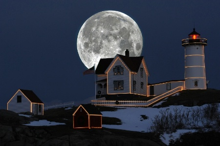 Moon Over Nubble Lighthouse,York,ME