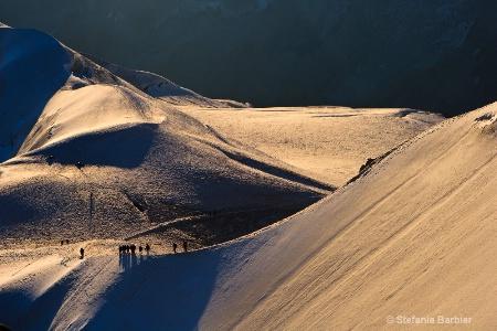 Hiking Mont Blanc at sunsrise
