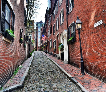 Acorn street in Beacon Hill. Boston,MA