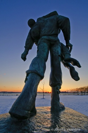 Liberation Statue at Sunset on Winter Solstice