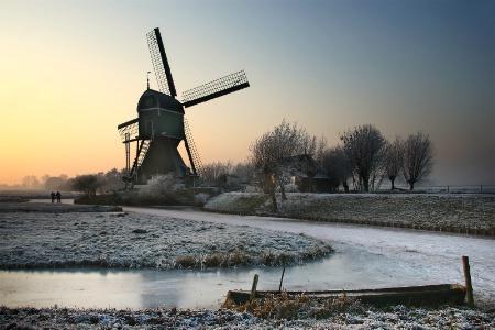 Winter Sunset below the Mill
