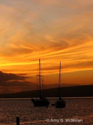 Sailboats along Molokai Wharf - ID: 9689128 © Amy G. McMillan
