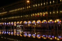 Reflections at night in St. Mark square