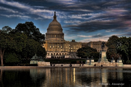 The U.S. Capitol at twilight..