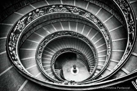 Spiral staircase inside Vatican Museum in Rome