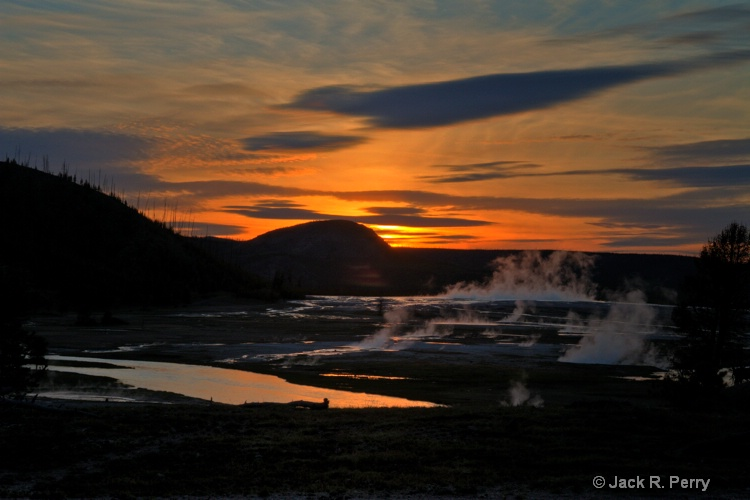 Sunset at the Midway Geyser Basin