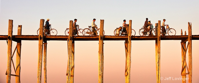U Bein Bridge Bicycles Pano, Myanmar (Burma) - ID: 10397452 © Jeff Lovinger