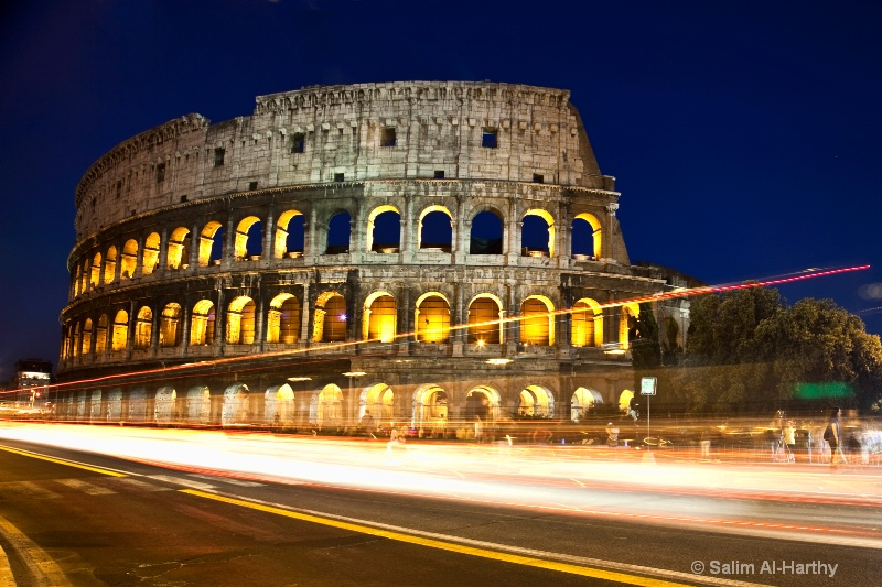 Light Trails at The Colosseum (Blue Hour)