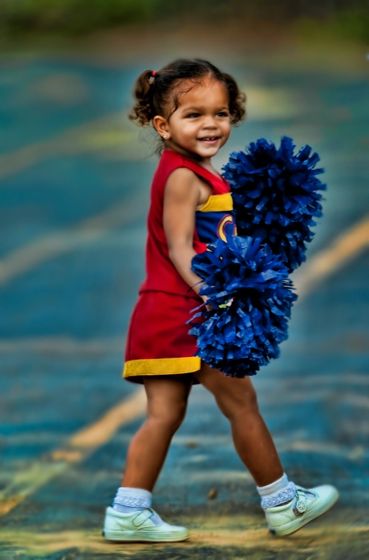 Cheerleader in training