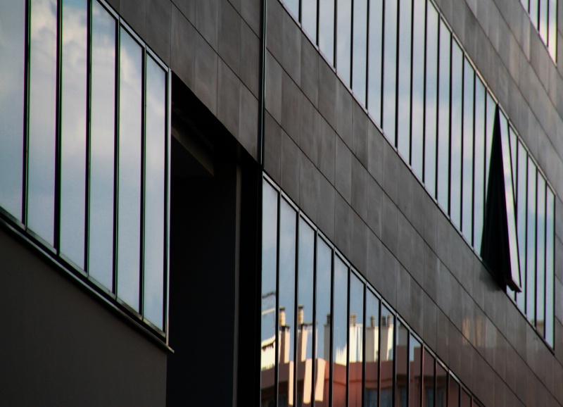 A building with reflections