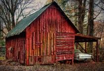 Vintage Car & Barn