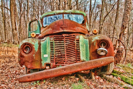 Old Green Truck - Front View
