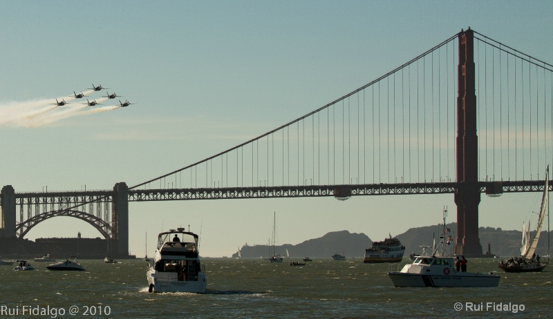 Fly By over San Francisco Bridge