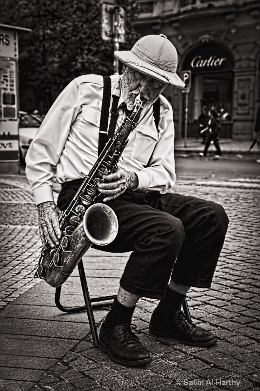 Old Man Blowing