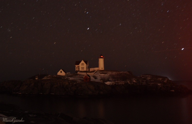 Stars Trails At Nubble Light