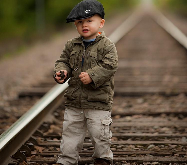 Liam walking the rails.