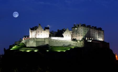 Moon over Edinburgh Castle
