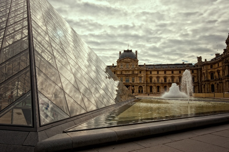 Travel: Courtyard and Pyramid at the  Lourve, Pari