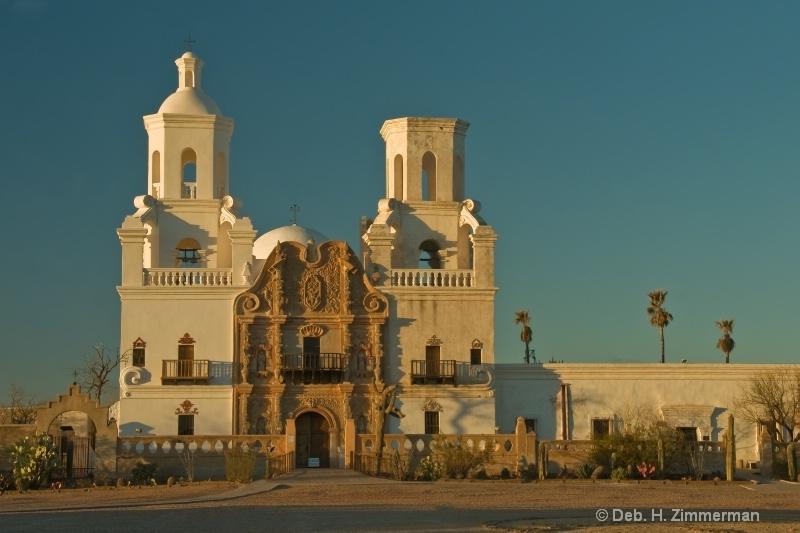 San Xavier Mission at Sunset - ID: 11679722 © Deborah H. Zimmerman