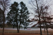 Red Roof Barn in Morning Mist