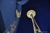 space needle at night... reflected off the experie