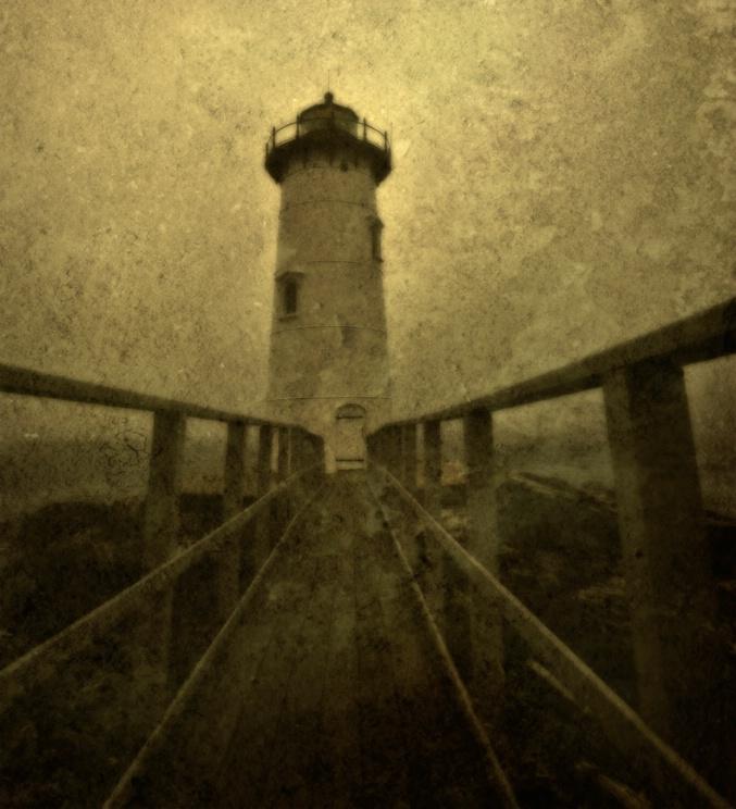 Lighthouse on foggy day