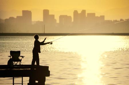 Kyle fishing on Lake Washington