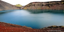 eruption crater lake  iceland highlands