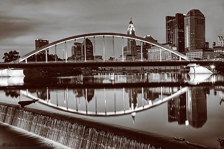 Main Street  Bridge In Black And White