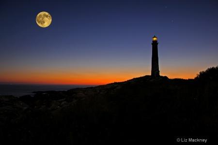 Thacher Island Sunrise With Full Moon