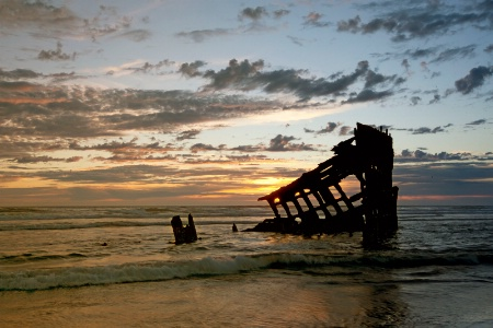 Wreck of the Peter Iredale at Sunset