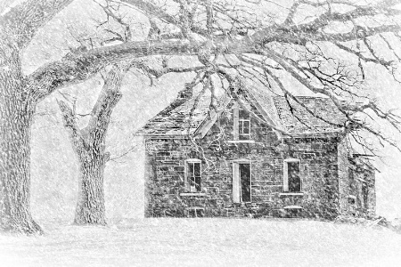 Stone House in Winter