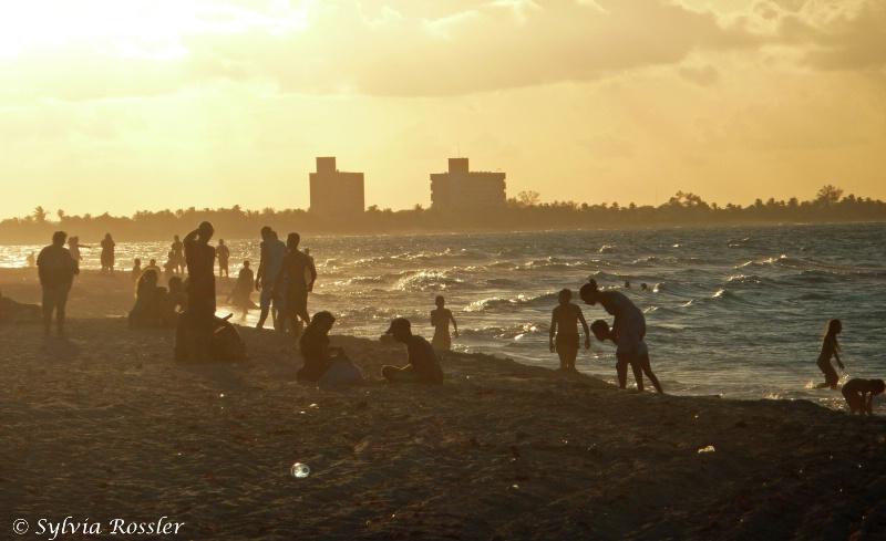 Busy beach on sunset