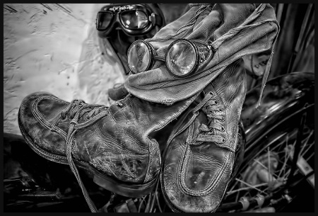Old Motorcycle Boots and Goggles