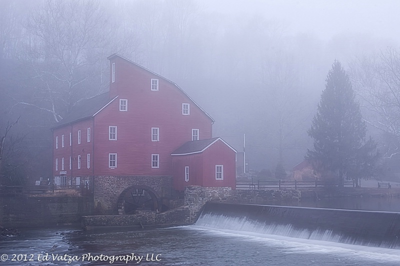 Red Mill on a Foggy Morn